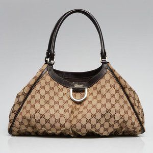 Authentic Gucci Hobo Abbey D Ring Gg Canvas Large